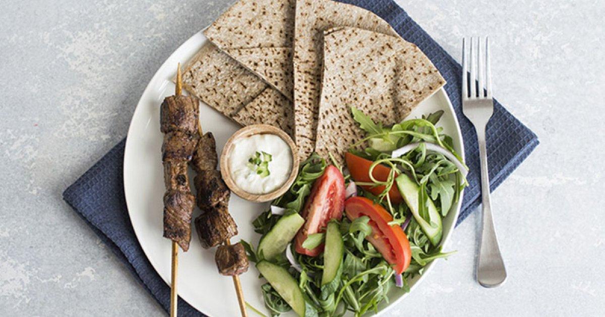 Greek Style Beef Souvlaki With Greek Salad And Homemade Yoghurt Sauce