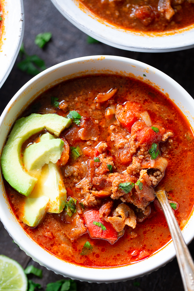 Beef Chili With Bacon In The Instant Pot {Paleo, Whole30, Keto} |