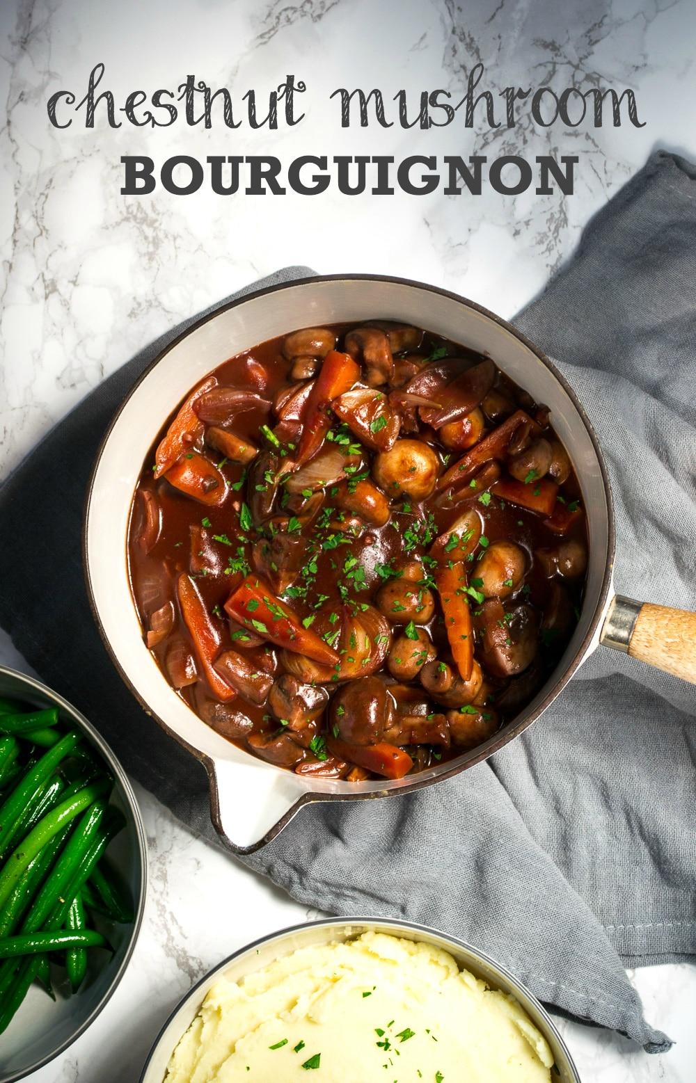 Recipe: Chestnut Mushroom Bourguignon (Vegan) - The Veg Space
