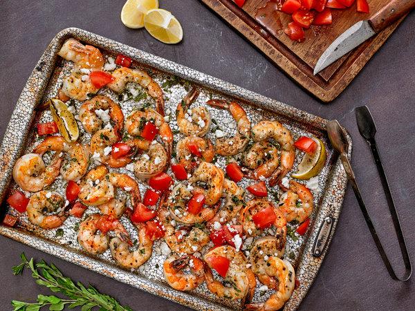 Sheet-Pan Shrimp With Tomatoes, Feta And Oregano