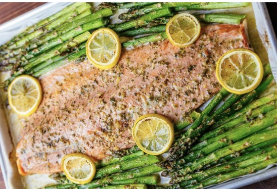 Buttered salmon and asparagus