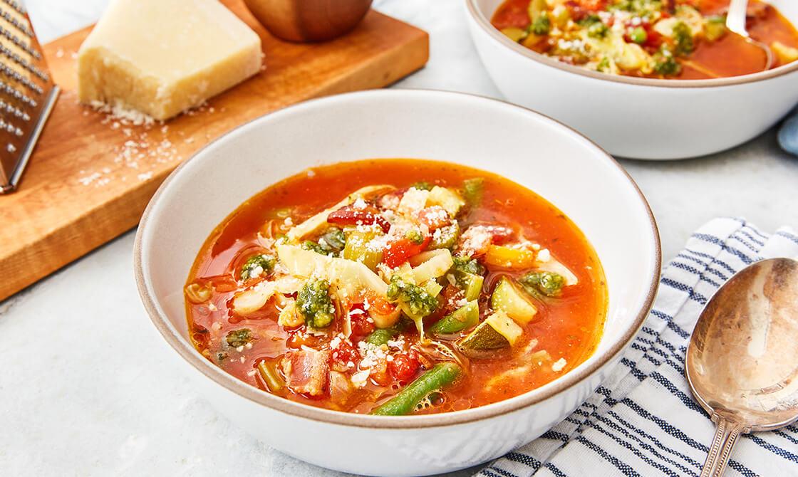 Minestrone Soup With Macadamia-Nut Pesto