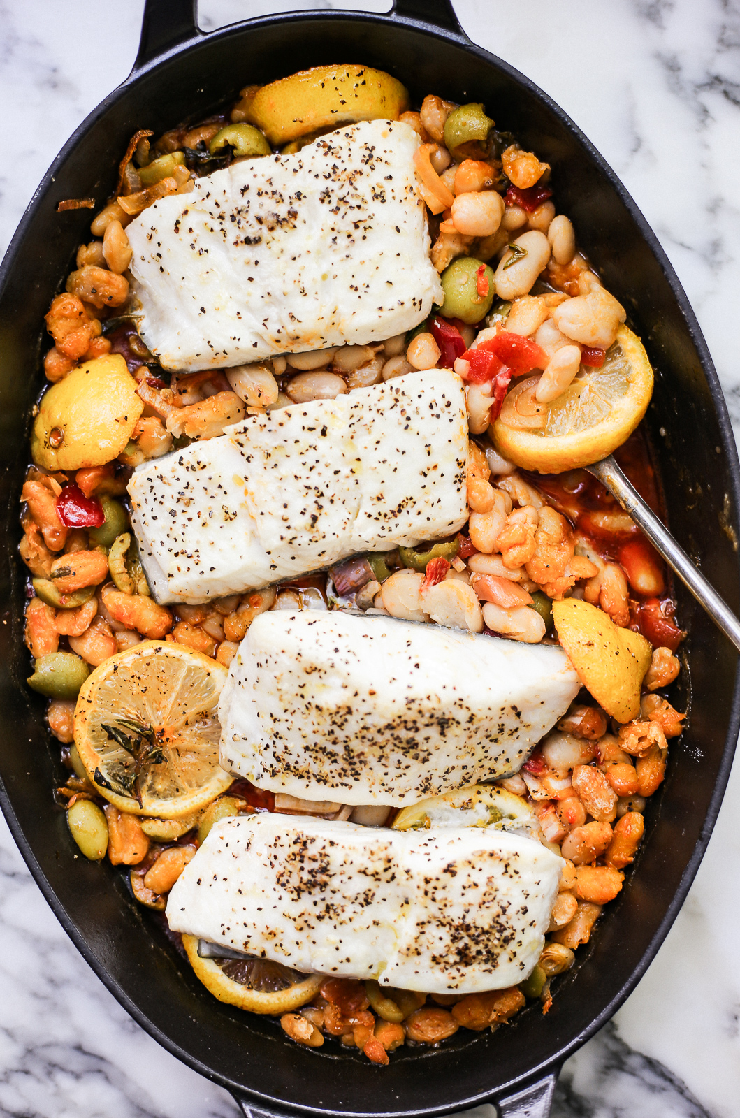 Roast Fish With White Beans And Calabrian Chiles - The Defined Dish