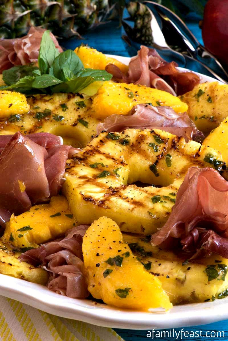 Grilled Tropical Fruit Salad with Prosciutto