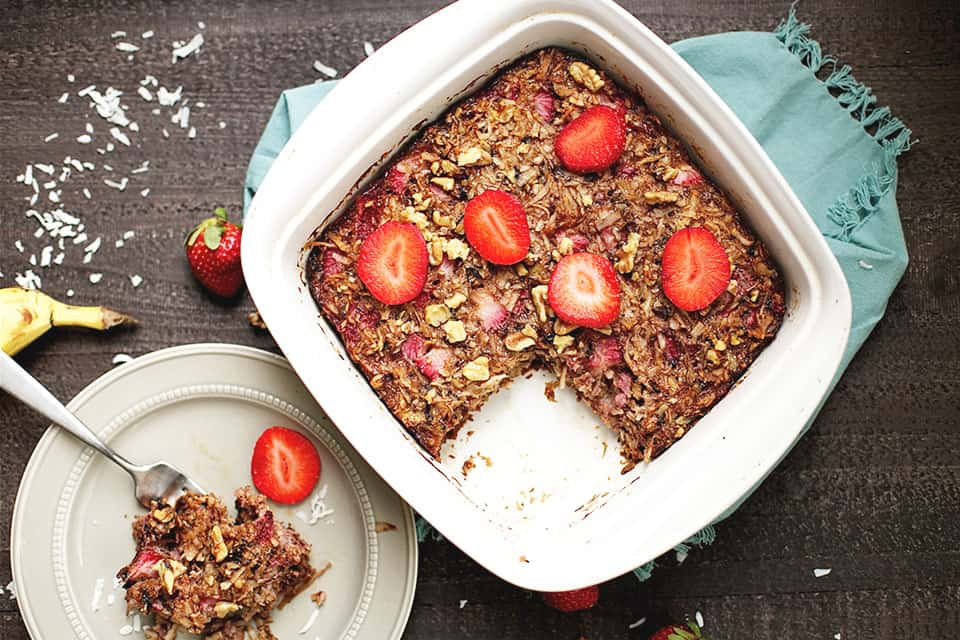 Strawberry Coconut Breakfast Bake - Wholesomelicious