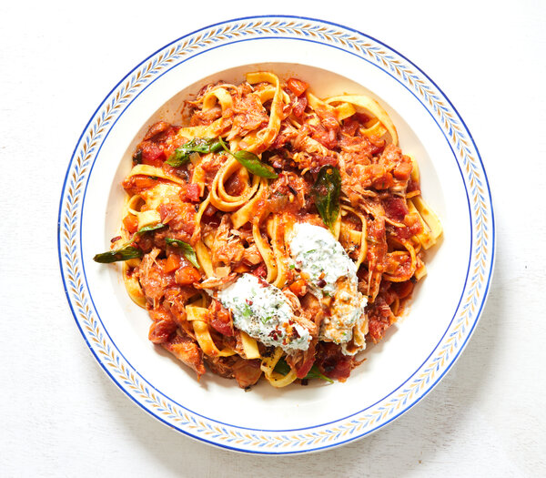 Slow Cooker Chicken Ragù With Herbed Ricotta Recipe