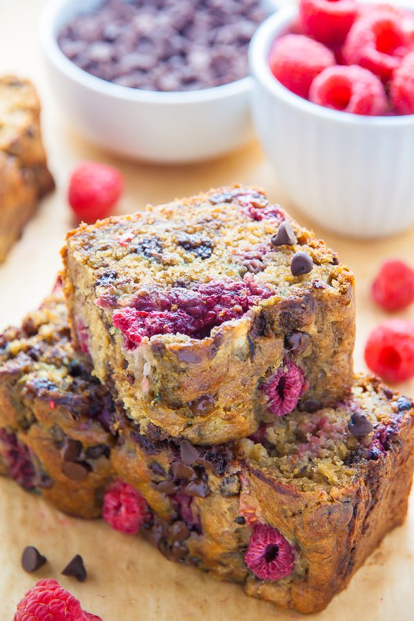 Healthy Raspberry Chocolate Chip Banana Bread - Baker By Nature
