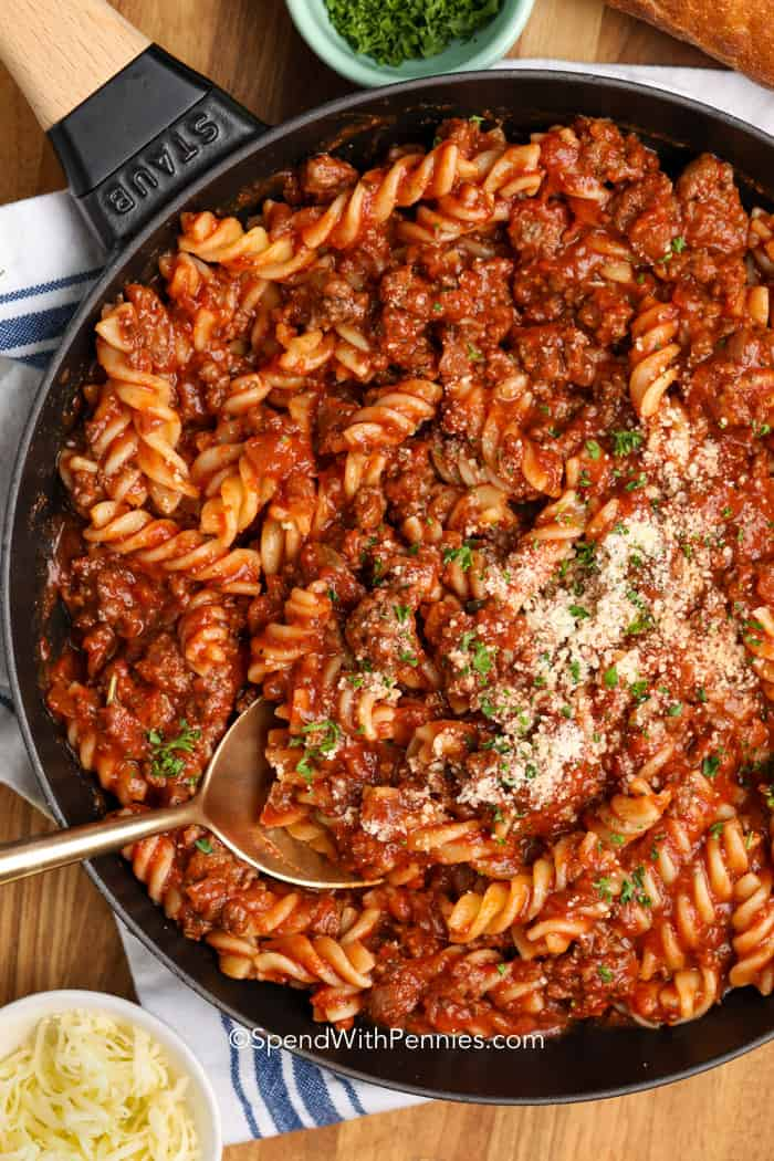 Ground Beef: Fusilli With Meat Sauce