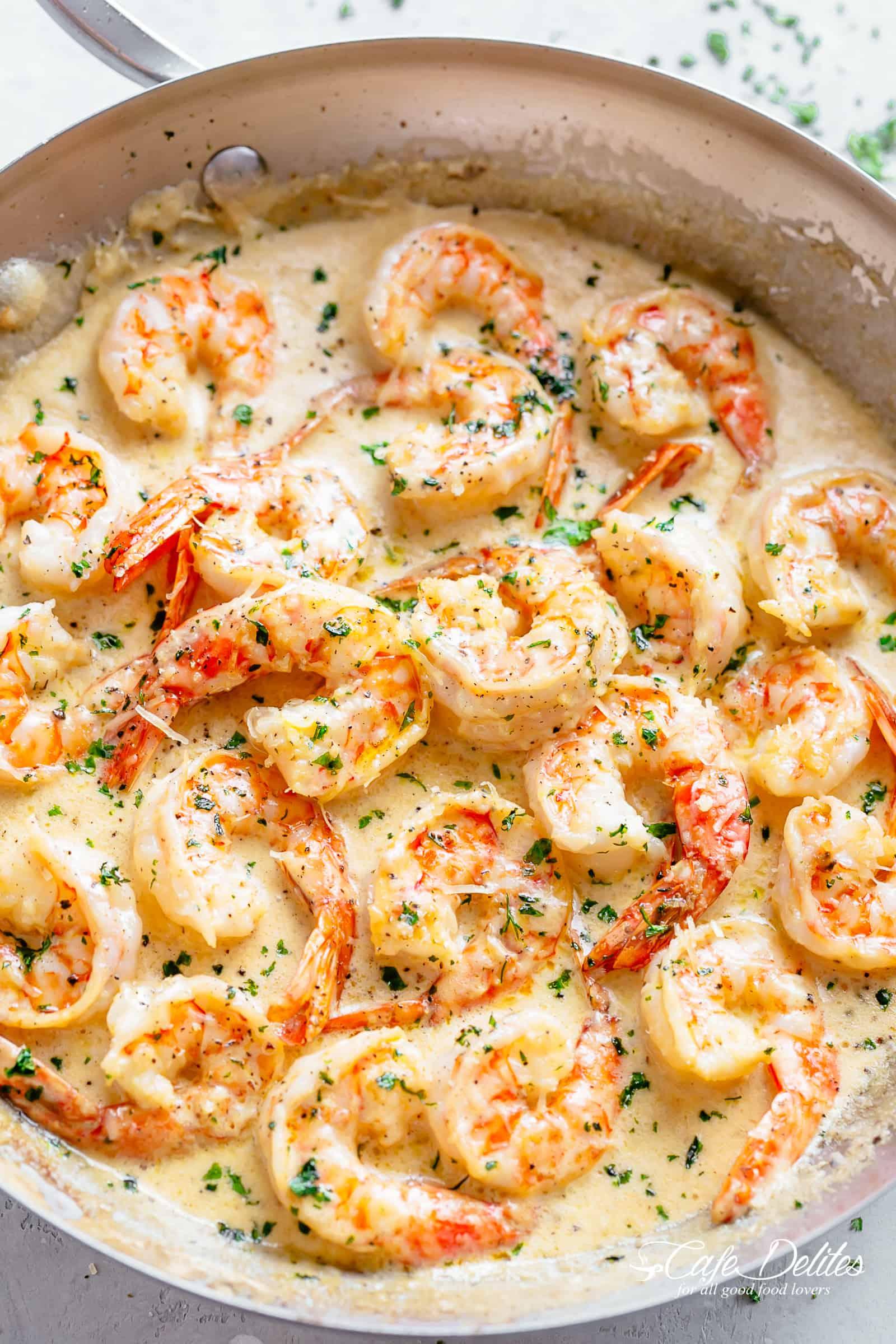 Creamy Garlic Shrimp w Parmesan
