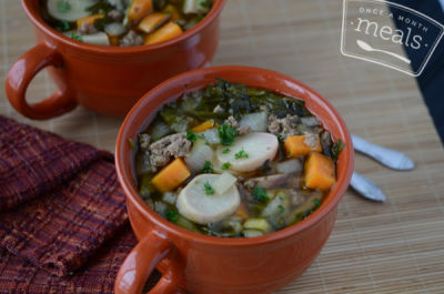 Slow Cooker Turkey Vegetable Soup- Lunch Version | Once A Month Meals