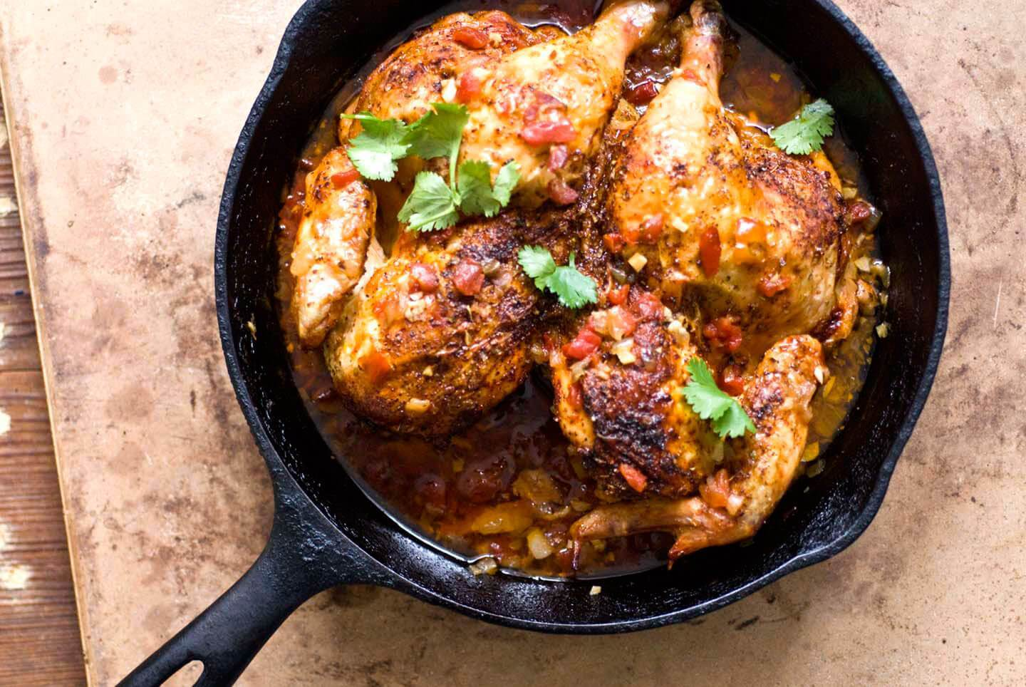 Roast Chicken With Bacon, Tomatoes, And Green Chiles