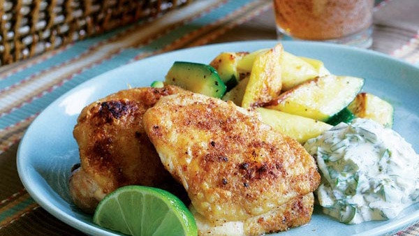 Lime Chicken With Poblano Sour Cream