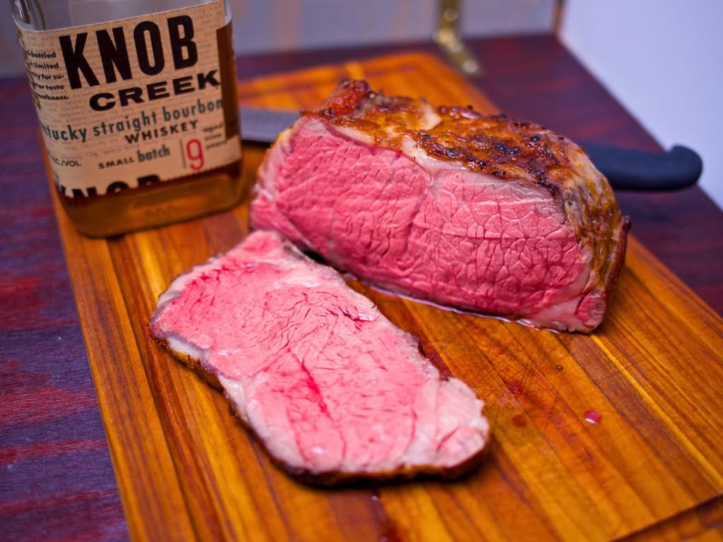 Sous Vide New York Strip Roast with Bourbon Cream Pan Sauce