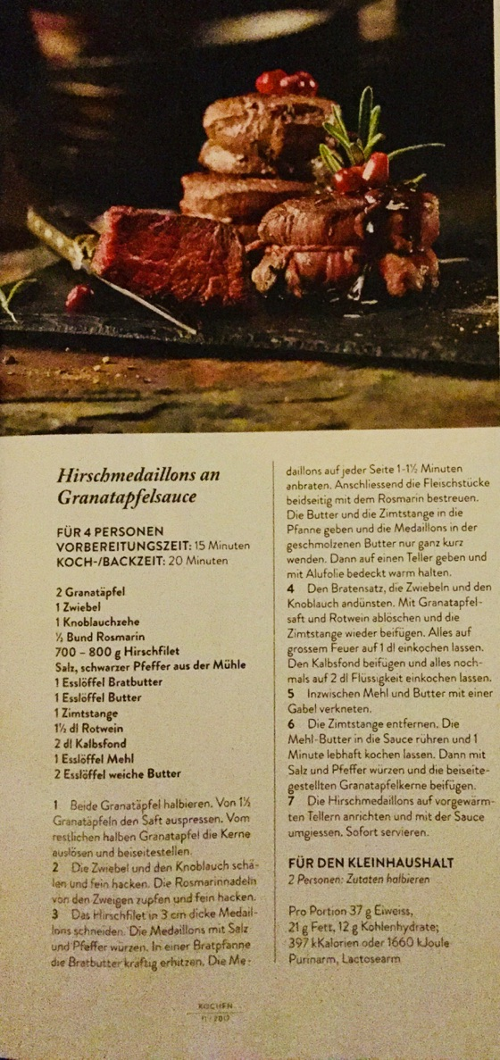 Hirschmedaillon an  Granatapfelsauce