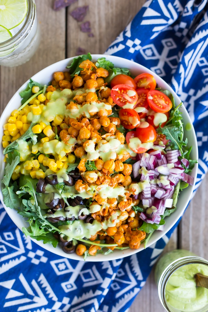 Seasoned Chickpea Taco Salad + Avocado Ranch Dressing