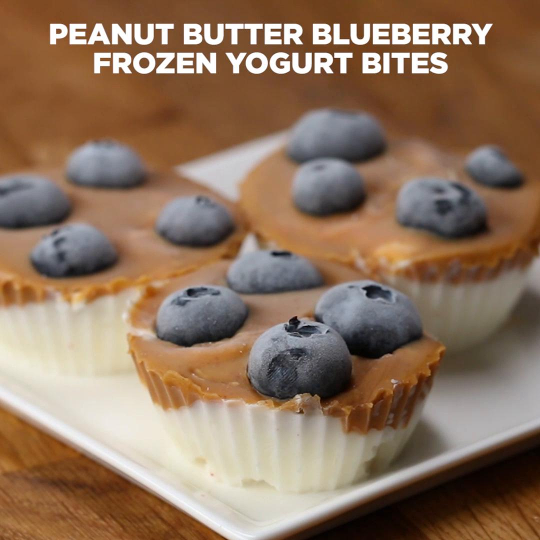 Peanut Butter Blueberry Frozen Yogurt Bites Recipe By Tasty
