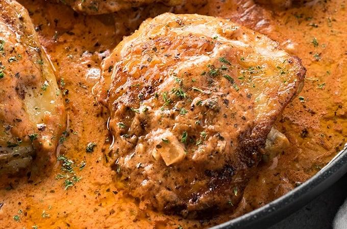 Chicken Thighs: Parmesan Tomato Basil Creamy Chicken