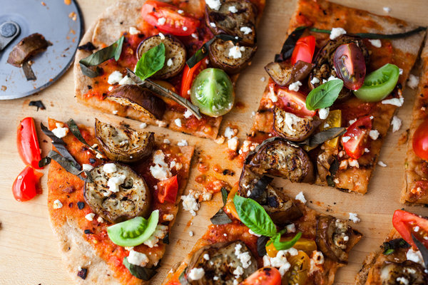 Grilled Pizza With Grilled Eggplant And Cherry Tomatoes Recipe