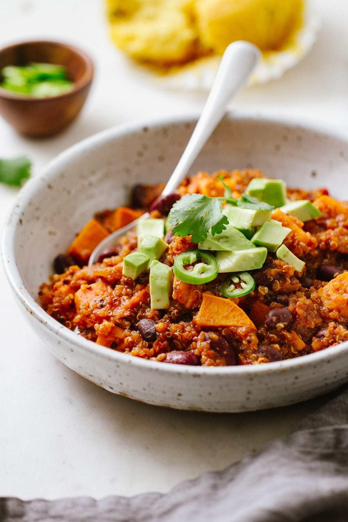 Sweet Potato & Quinoa Chili - Easy One Pot Recipe | Stovetop + Slow Cooker