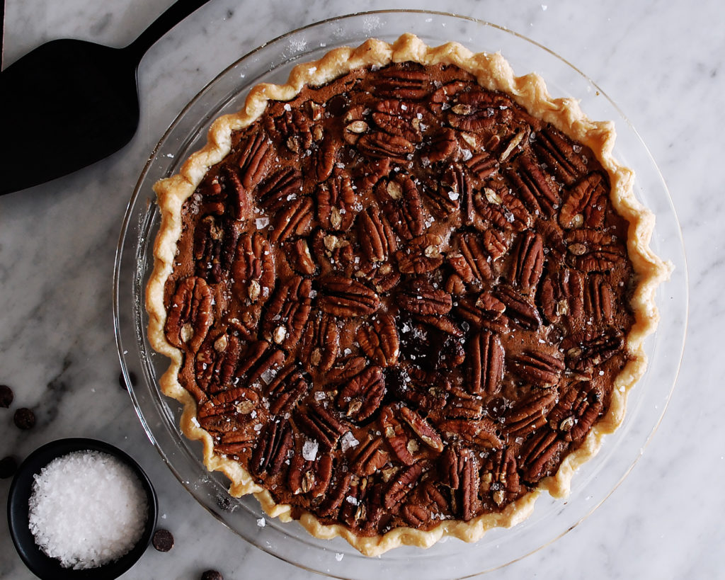 Salted Molten Chocolate Raspberry Pecan Pie