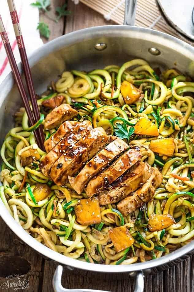 One Pot Teriyaki Chicken Zoodles + Video! - Life Made Sweeter