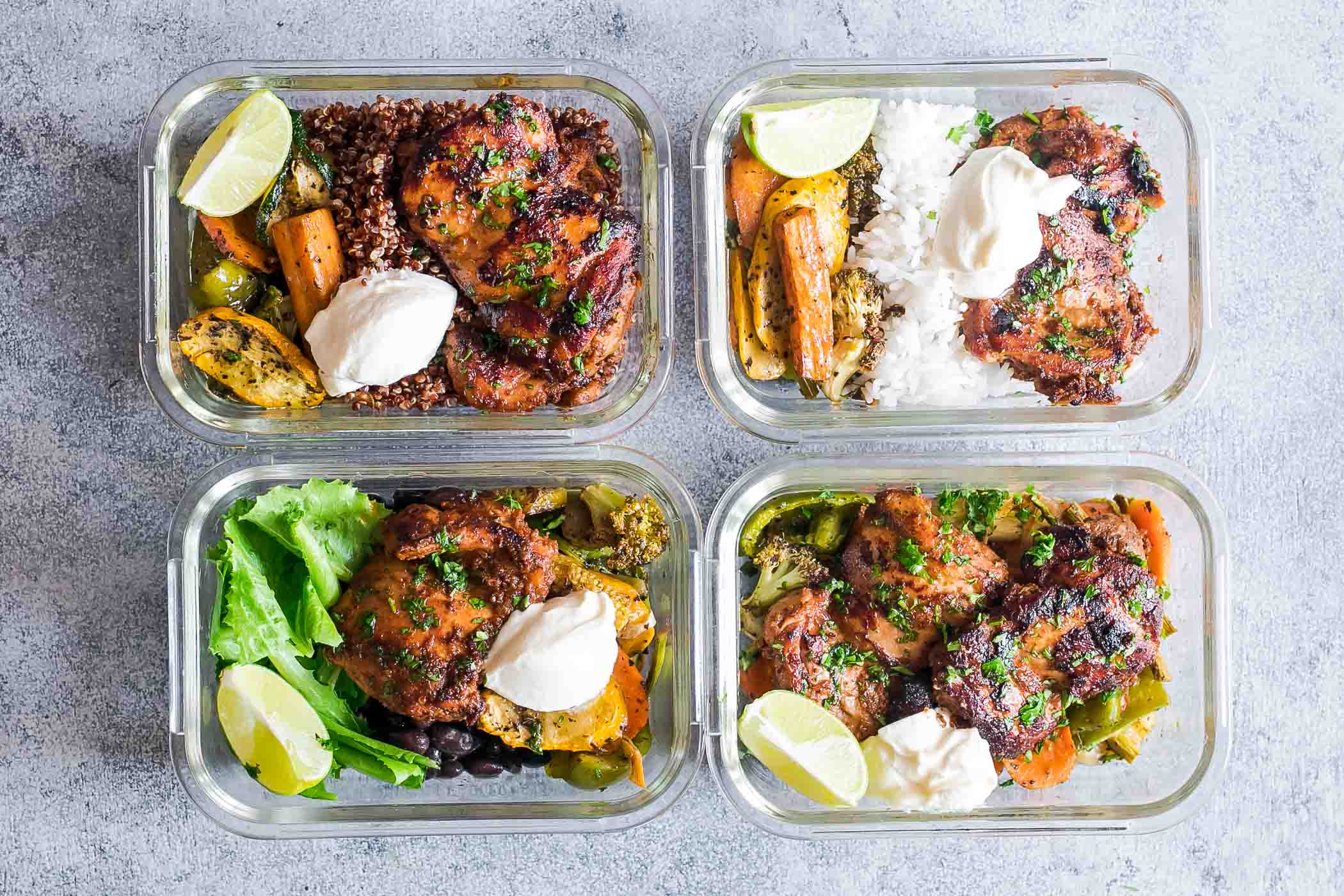 Chipotle Chicken Meal Prep Lunch Bowls - 4 Ways
