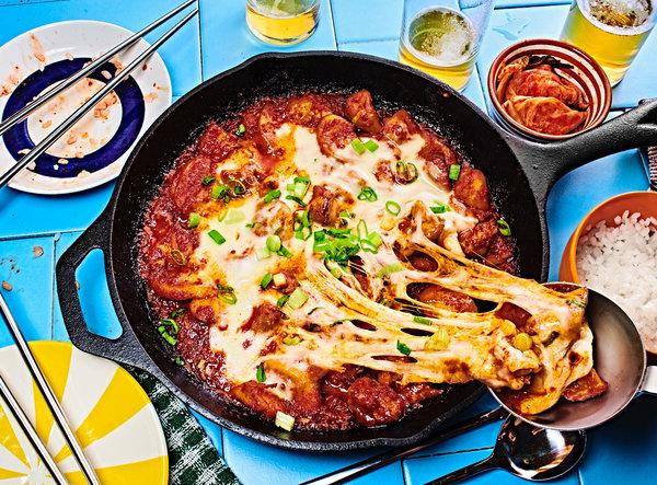 Maangchi's Cheese Buldak (Fire Chicken)