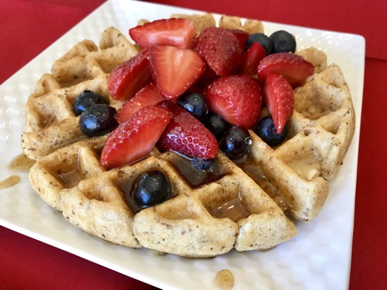 OAT WAFFLES WITH FRESH FRUIT TOPPING