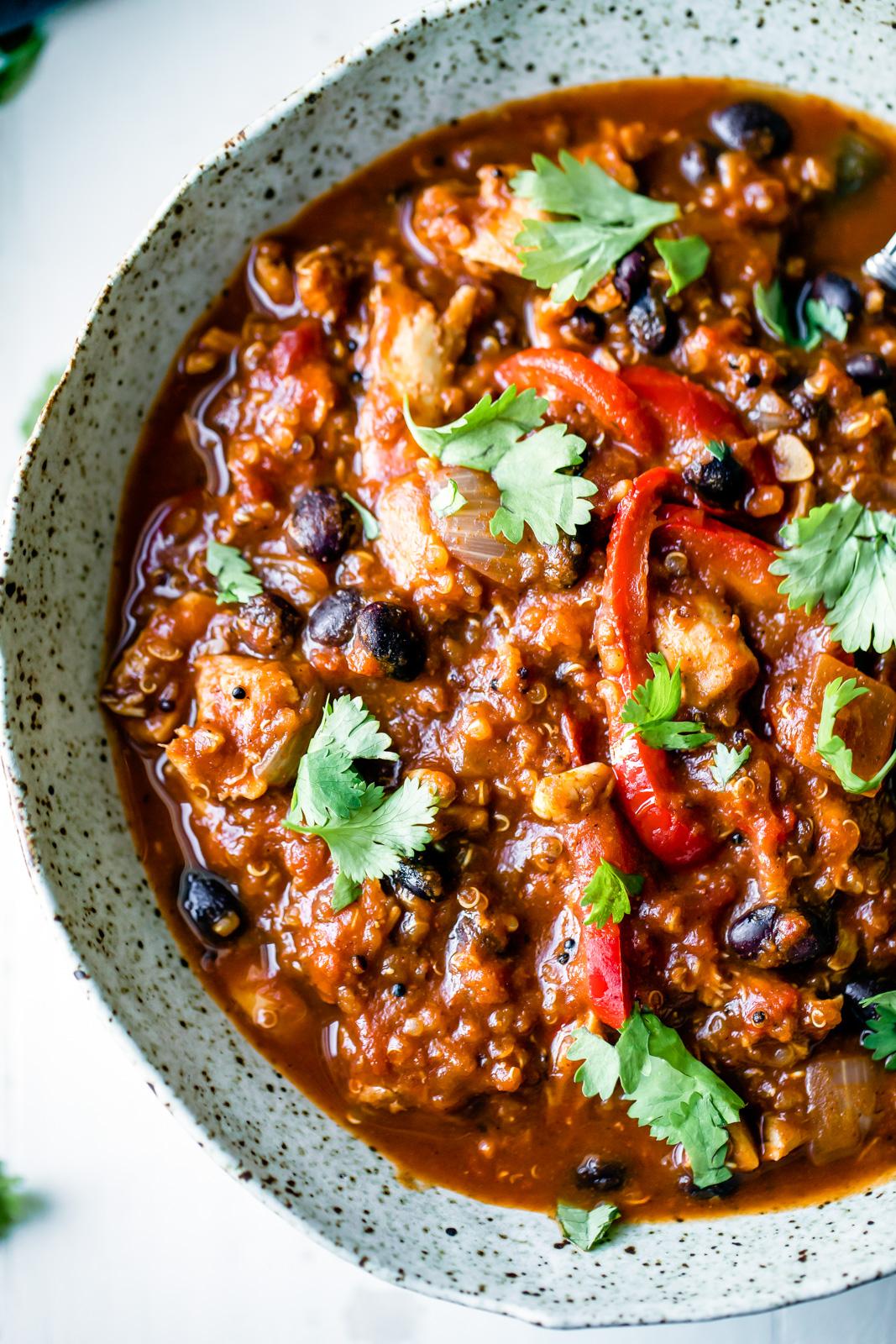Slow Cooker Black Bean Quinoa Pumpkin Chicken Chili | Ambitious Kitchen