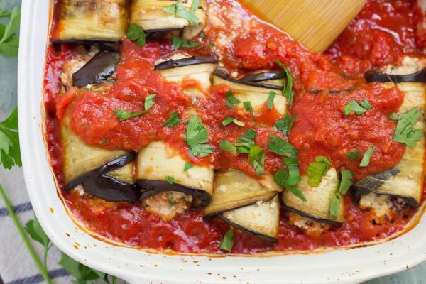 Eggplant Involtini with Harissa Sauce