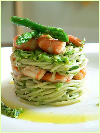 Shrimp, Spaghetti With Asparagus Pesto