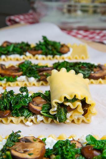 Mushroom Lasagna Roll-Ups With Gorgonzola Cauliflower Sauce