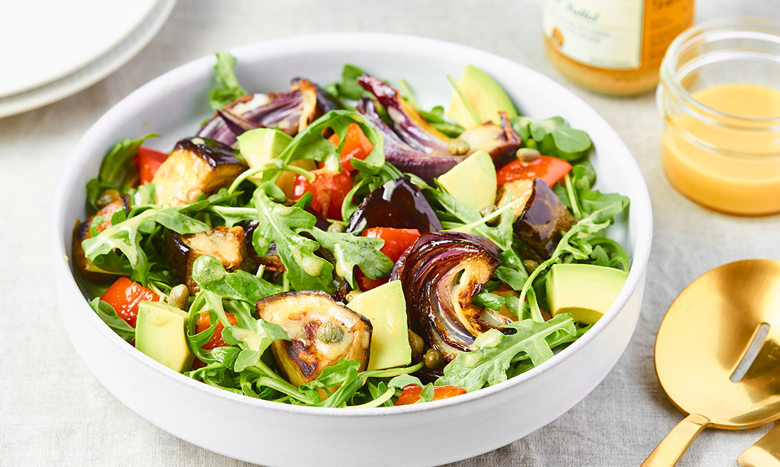 Roasted Eggplant, Red Pepper, And Avocado Salad