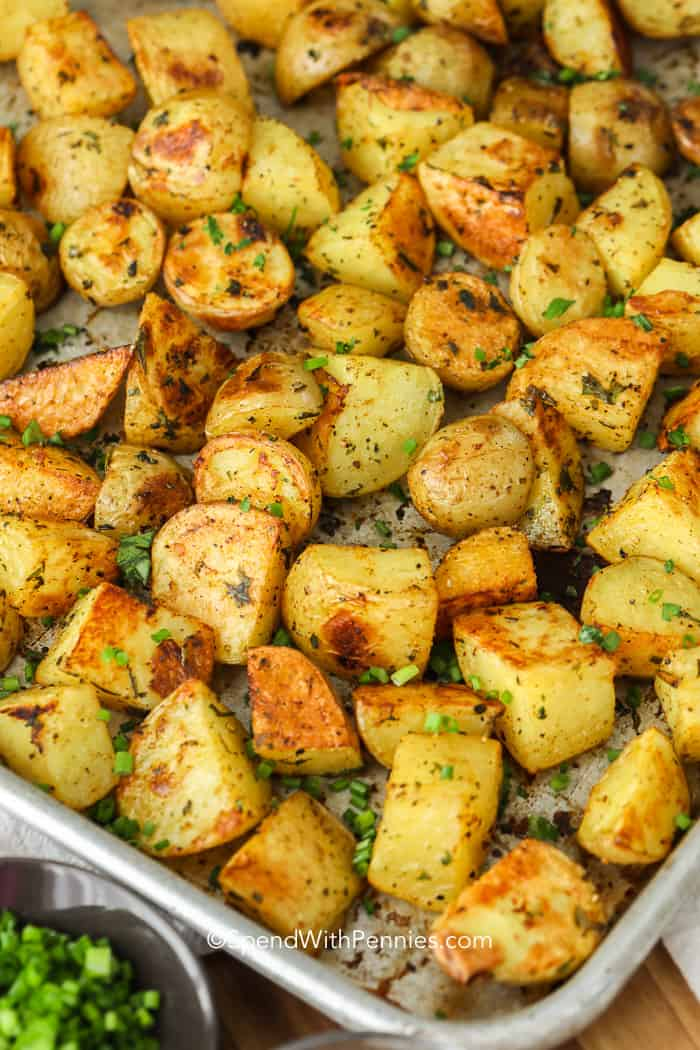 Easy Oven Roasted Potatoes {Easy To Make!} - Spend With Pennies