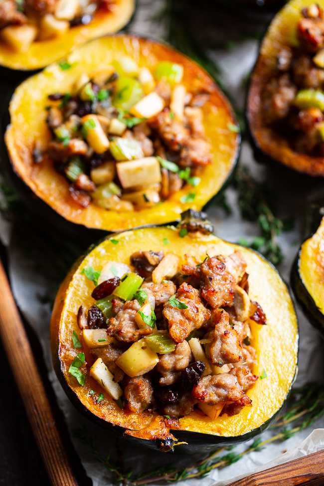 Ultimate Stuffed Roasted Acorn Squash {Paleo, Whole30} |