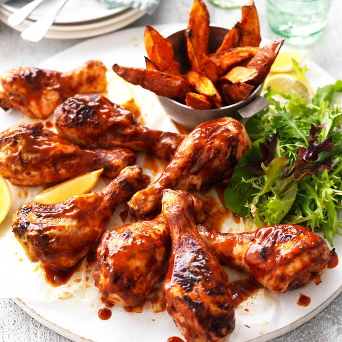 Chicken Drumsticks with Spiced Sweet Potato Wedges myfoodbook with Celebrate Health Chicken Drumsticks with Spiced Sweet Potato Wedges