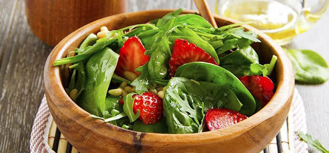 Strawberry Spinach Salad with Goat Cheese Dressing